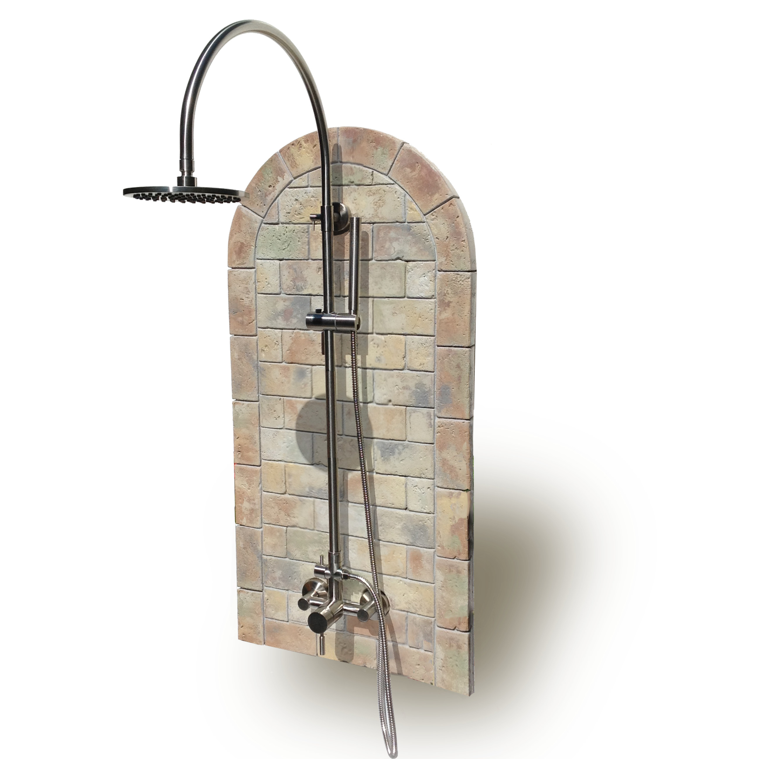 Oceanic Theme Outdoor Shower Kit Plus Portable Tank Less Hot Water Heater
