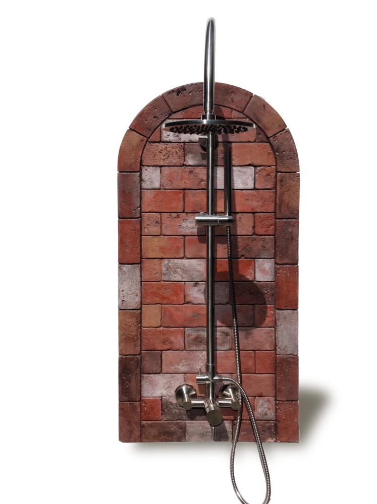 Rustic Brick Outdoor Shower