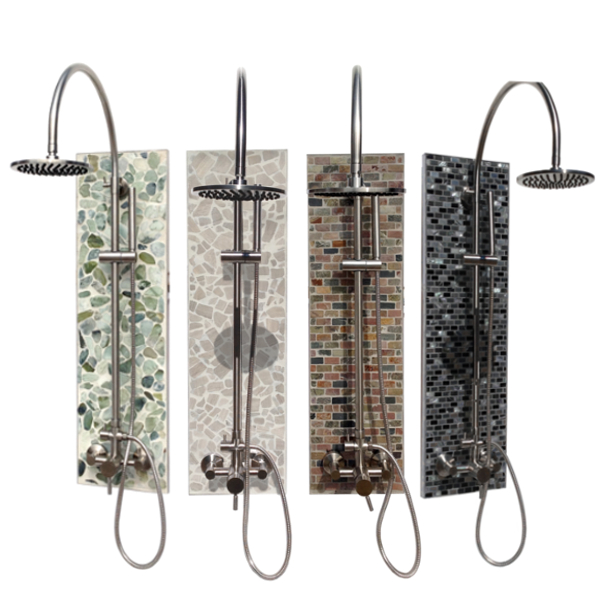 Solltile Shower Collection. Pricing starts @$857 for complete outdoor shower kits.