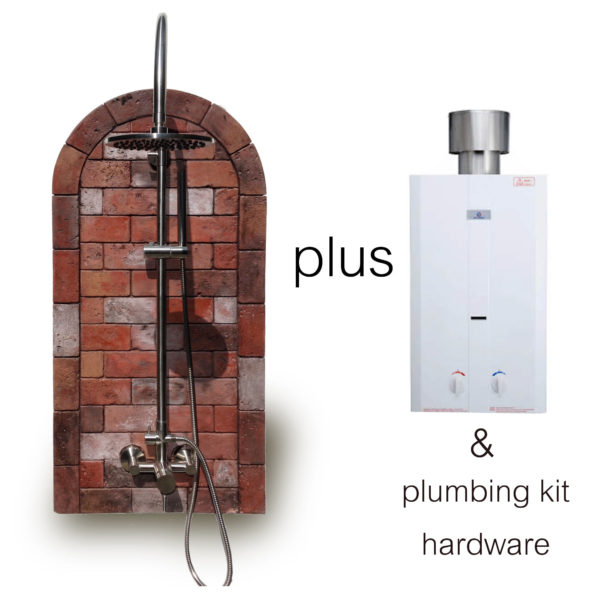 Rustic Brick Outdoor Shower With Hot Water Heater